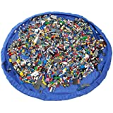 "Ziye Shop Large 60"" Diameter Clean up Children Toys Baby Pouch Storage Bag Organizer Kids Play Floor Mat Toy Portable Holder Rug (Blue)"