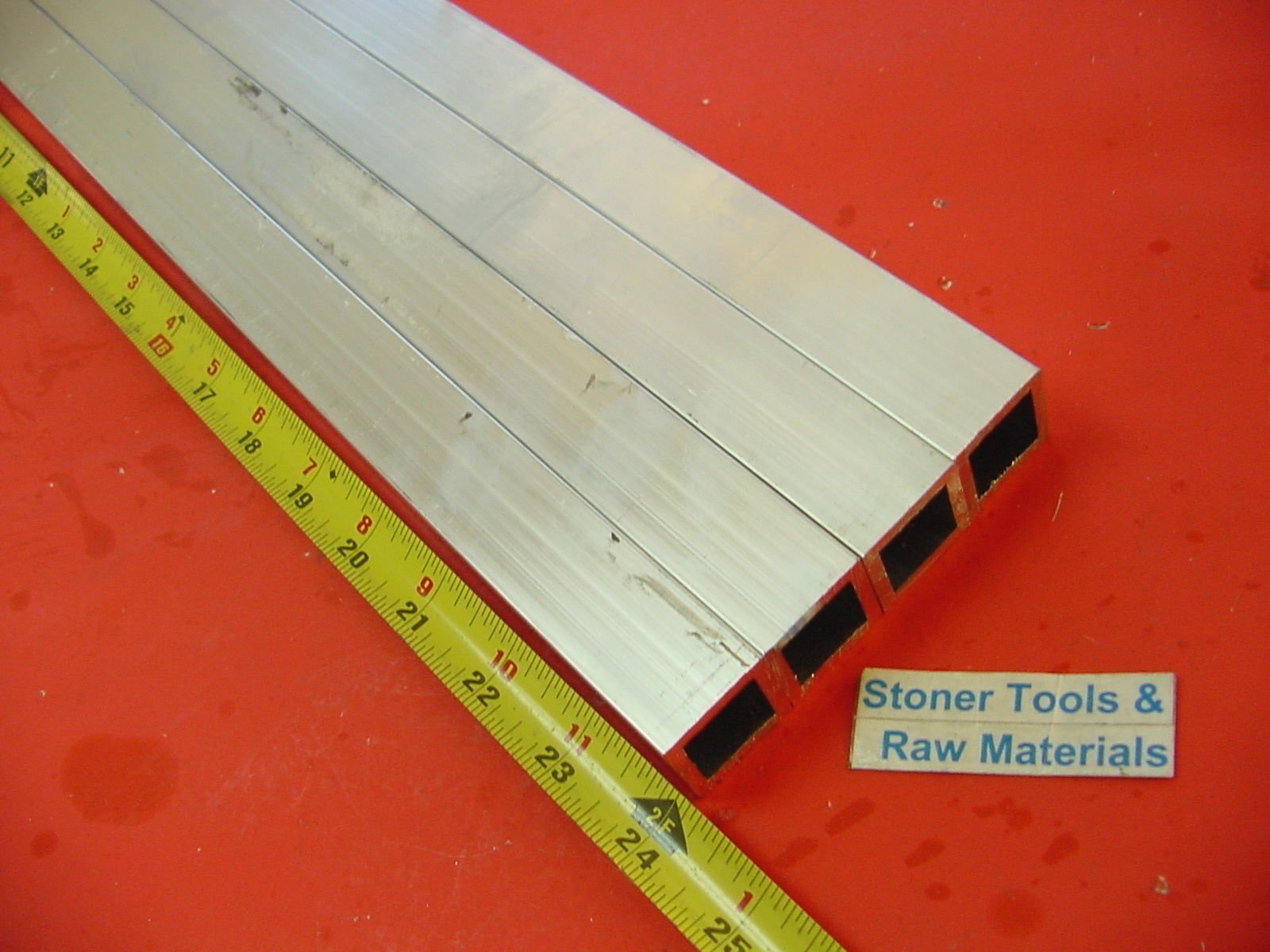 4 Pieces 1''x 1''x 1/8'' Wall x 24'' Long ALUMINUM SQUARE TUBE 6063 T52 1.0'' OD x .745'' ID by Stoner Metals