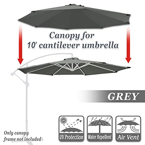 Strong Camel Replacement Cantilever Hanging Umbrella Canopy for 10ft 8 Ribs  in (Canopy Only) (Grey)