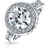 Bling Jewelry Round CZ Circlet Engagement Ring Half Pave Band Rhodium Plated