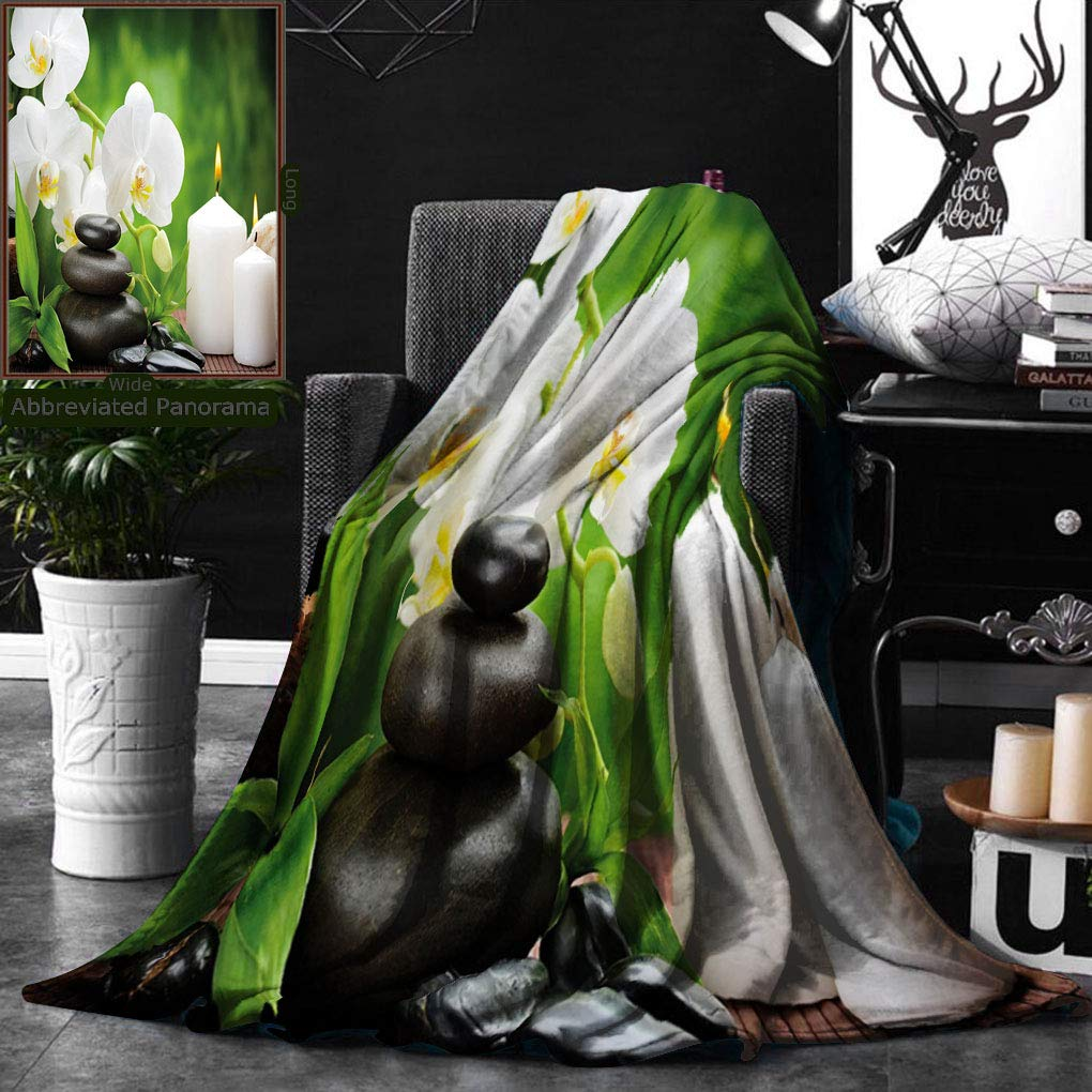 Unique Custom Double Sides Print Flannel Blankets Spa Decor Zen Stones With Orchid And Burning Candles In A Romantic Harmony Green Charc Super Soft Blanketry for Bed Couch, Twin Size 60 x 80 Inches