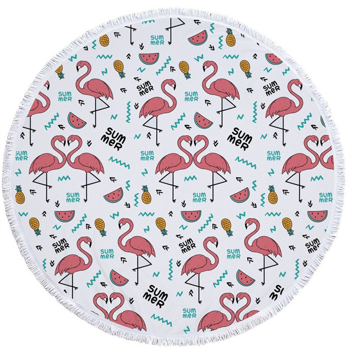 Round Beach Mat Tassels Microfiber Flamingo Printed Beach Throw Blanket Multi-Purpose Beach Towel