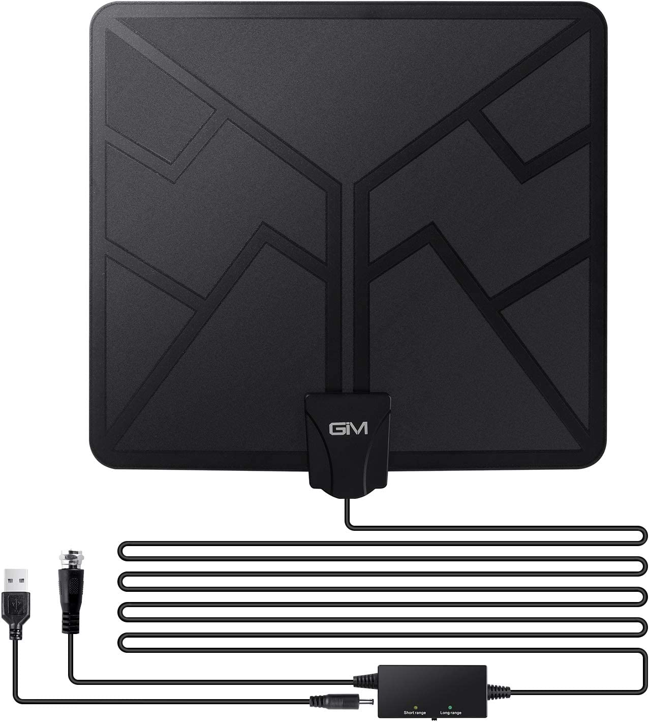 [Latest 2020] GIM TV Antenna Amplified HD Digital Indoor Antennas, 120 Miles Range, Amplifier Signal Booster Support 4K 1080P UHF VHF Freeview HDTV Channels - 16.5 ft Coaxial Cable Included
