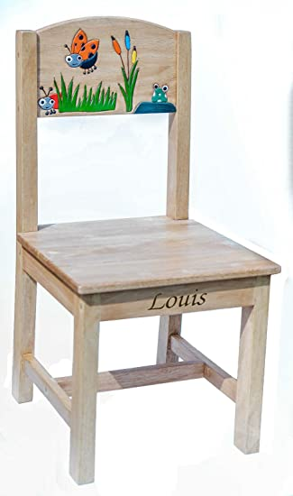 Personalised Childrens Kids Wooden Chair Seat Ladybird Design , Engraved  With Any Name