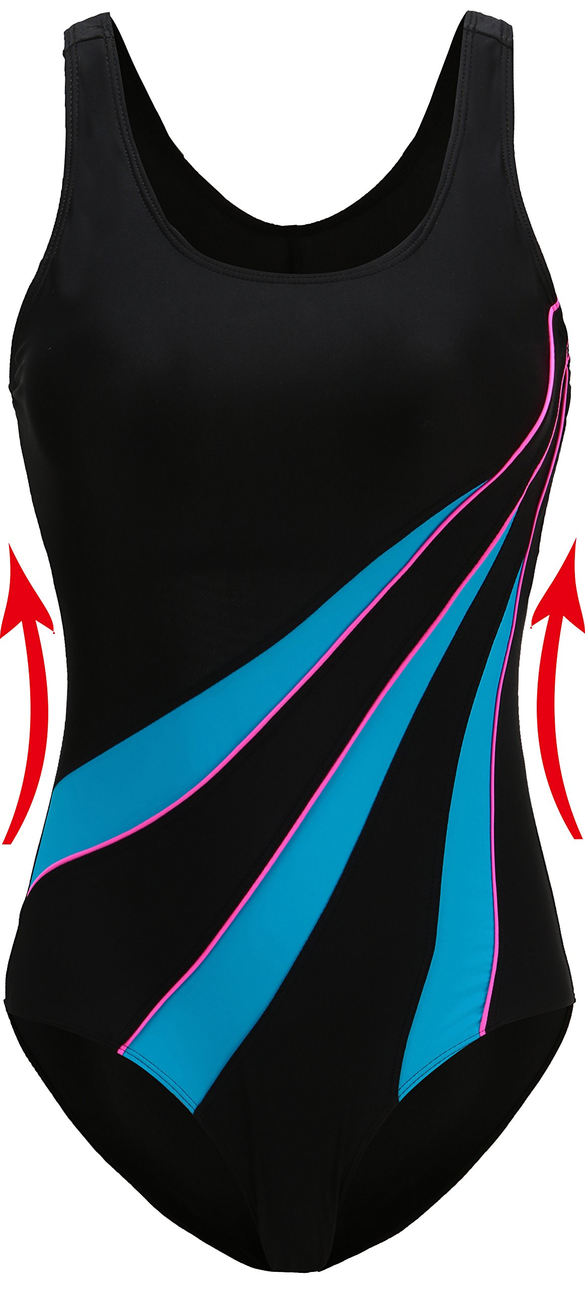 EBMORE Womens One Piece Swimsuit Bathing Suit Chlorine Resistant for Athletic Sport Training Exercise (US (6-8), Black & Blue)