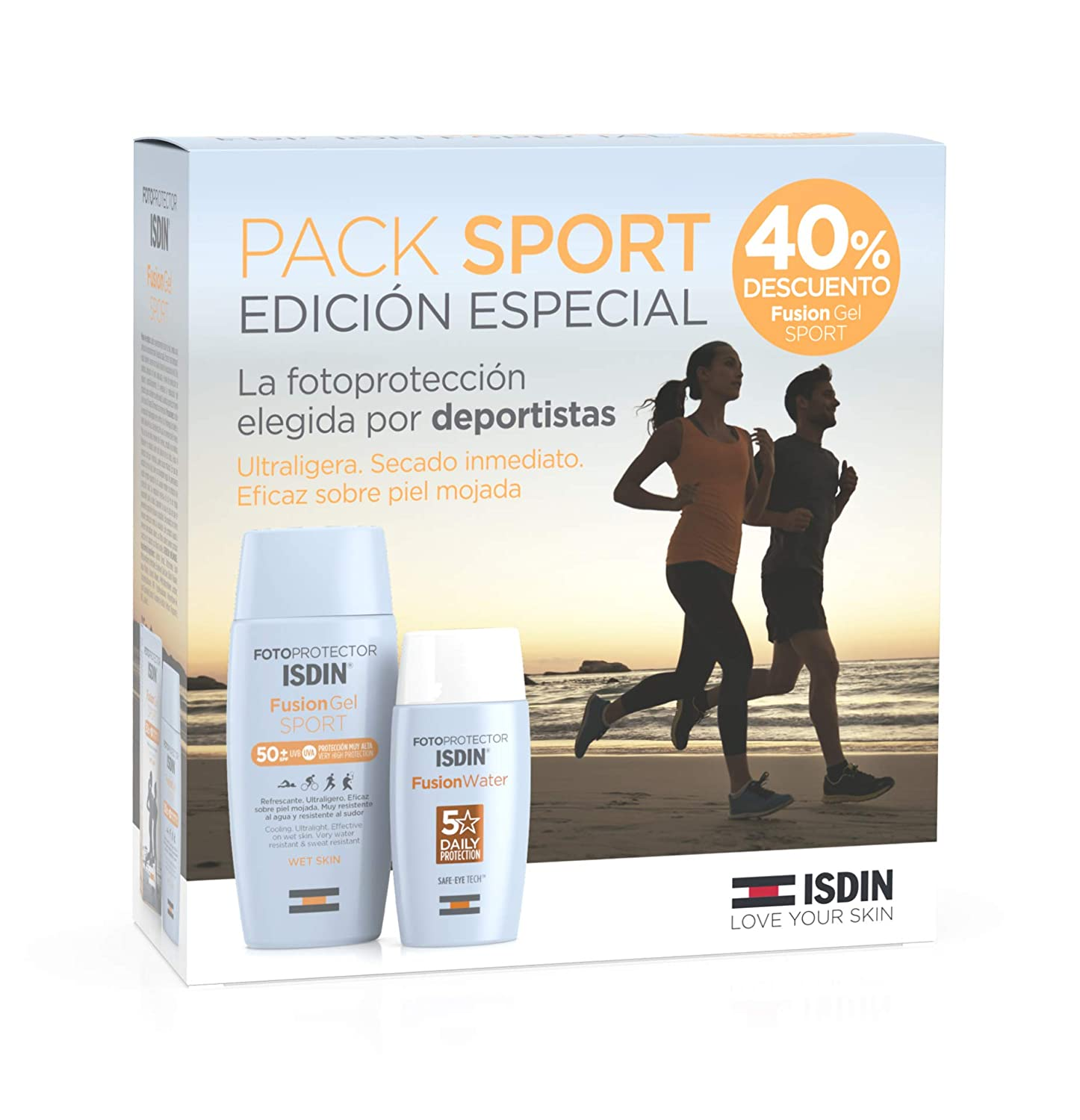 Fotoprotector ISDIN Pack Fusion Water SPF 50 y Fusion Gel SPORT ...