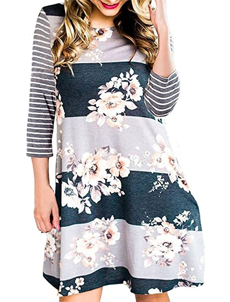 3809c503e7c41 Halife Women's 3/4 Sleeve Floral Striped T-Shirt Swing Dress with Pockets  Gray S at Amazon Women's Clothing store: