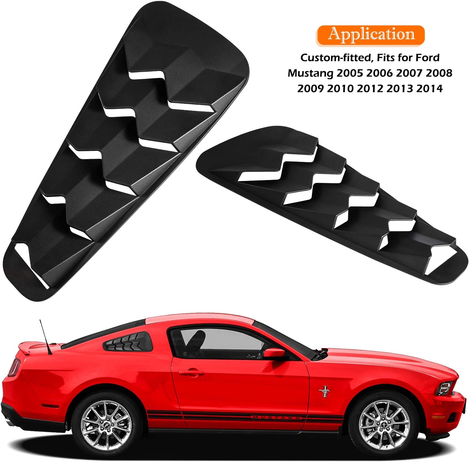 Rear Window Louvers and Quarter Side Window Scoop Louvers in GT Lambo Style Matte Black ABS Fits for Ford Mustang 2005 2006 2007 2008 2009 2010 2012 2013 2014