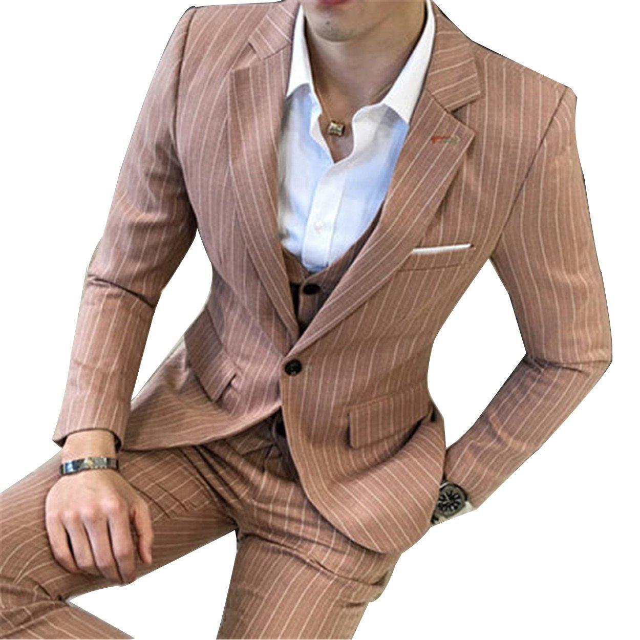 スリーピーススーツ メンズ ビジネススーツ 3点セット 全5色 スーツセットアップ カジュアルスーツ 結婚式 二次会 入学式 卒業式 B0732W1W4P XXXXX-Large|カーキ カーキ XXXXX-Large