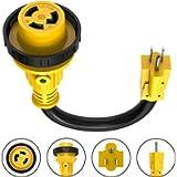 Kohree Dogbone Heavy Duty RV Power Cord Plug Adapter, 15Amp Male to 30Amp Female With Twist Lock, LED Indicator