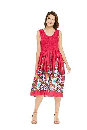 8a53cf166b54 Women's Hawaiian Tank Elastic Luau Dress Rafelsia Border in Pink at Amazon  Women's Clothing store: