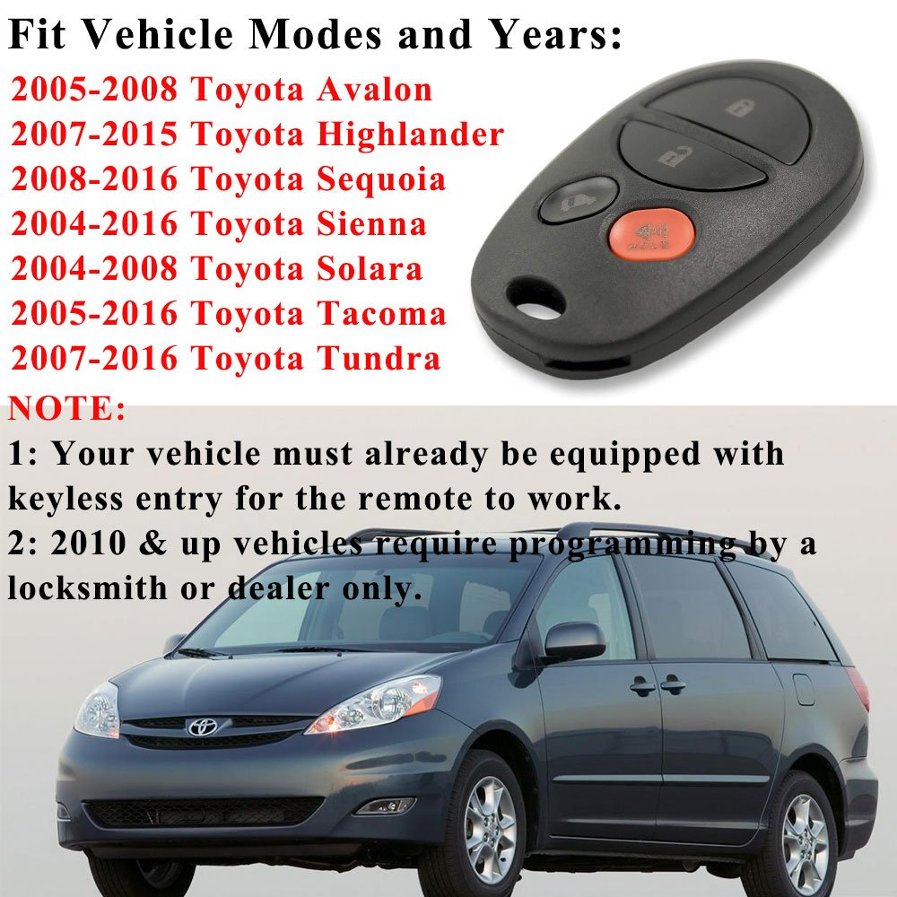 Toyota Sienna Key Fob Bestremotes New Replacement 2004 Thermostat Location Keyless Entry Remote For With Fcc Id Gq43vt20t 2 Pack Car