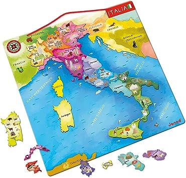 Cartina Italia Bambini.Janod Mappa D Italia Magnetica 20 Pezzi Legno 36 X 36 Cm Gioco Educativo Per Bambini Dai 7 Anni In Su J05488 Amazon It Giochi E Giocattoli