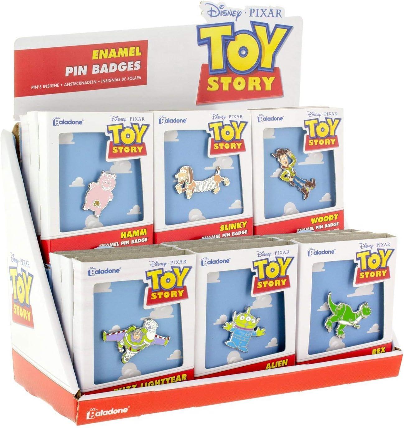 Lucky Dip from 6 Versions Hamm Slinky Woody Buzz Lightyear Alien Or Rex Brooch Toy Story Enamel Pin Badges