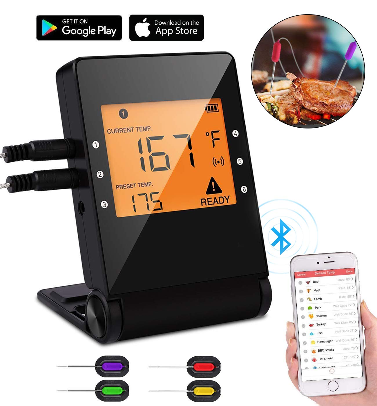 Digital Bluetooth Meat Thermometer,Wireless Remote Cooking Food Grill Thermometer with 4 Stainless Steel Probes for instant read BBQ Grilling, Kitchen Cooking and Smokers Thermometer