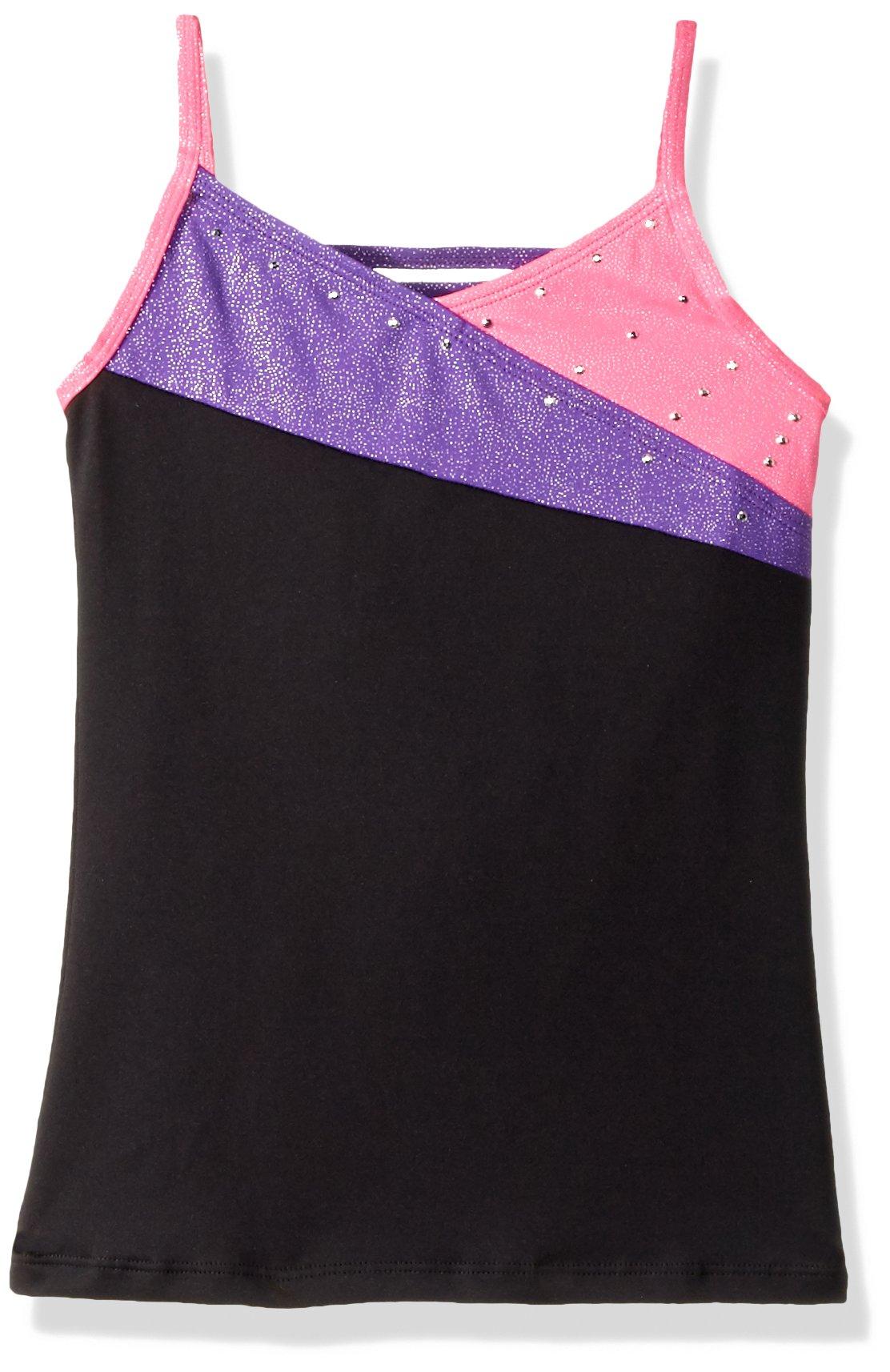 Jacques Moret Big Girls' Gymanstics Tank Top, Rainbow Triangles Pink and Black Colorblock, M