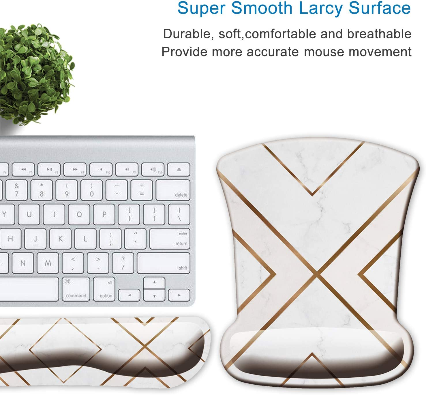 ITNRSIIET Upgraded Ergonomic Keyboard Wrist Rest and Mouse Wrist Rest Pad Set,Cute Modern Gold Cross Line Design for Women Non-Slip Thick Mouse Pad Easy Typing and Wrist Pain Relief