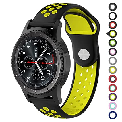 Meifox Compatible with Gear S3 Bands,Soft Silicone Replacement Band for Samsung Gear S3 Frontier/Classic Smart Watch,Also for Huawei Watch 2 Classic ...