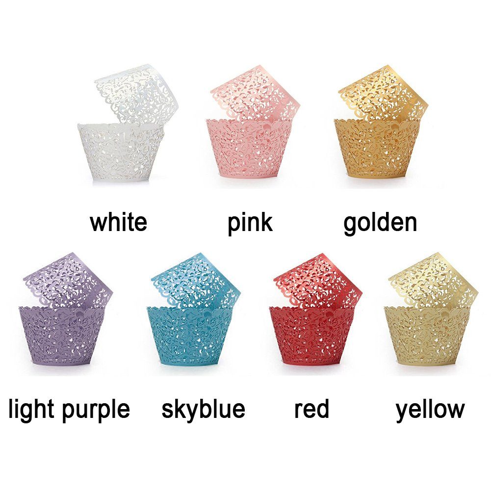 Tama/ño libre 50 envoltorios de filigrana para cupcakes color rosa amarillo