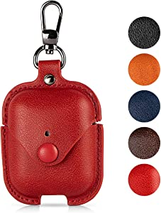 Leather Case for Airpods with Keychain, Premium Leather Vintage Portable Shockproof Protective Cover for Apple AirPods 1 and AirPods 2 Charging Case