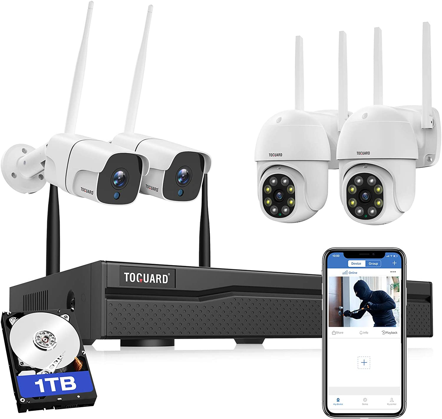 TOGUAGD Wireless Home Security Camera System Outdoor PTZ Cameras and Bullet Cameras with 1TB Hard Drive 3MP WiFi Surveillance NVR Kits Full Color Night Vision Motion Alert