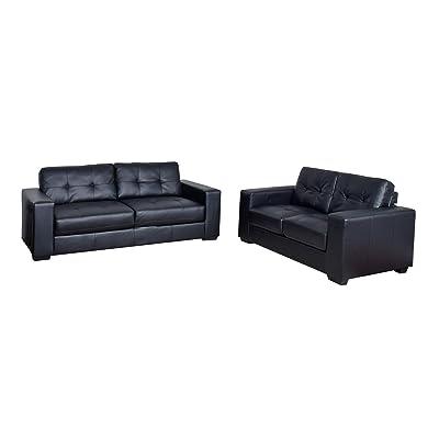 CorLiving LZY-101-Z2 Club 2-Piece Leather Sofa Set Black