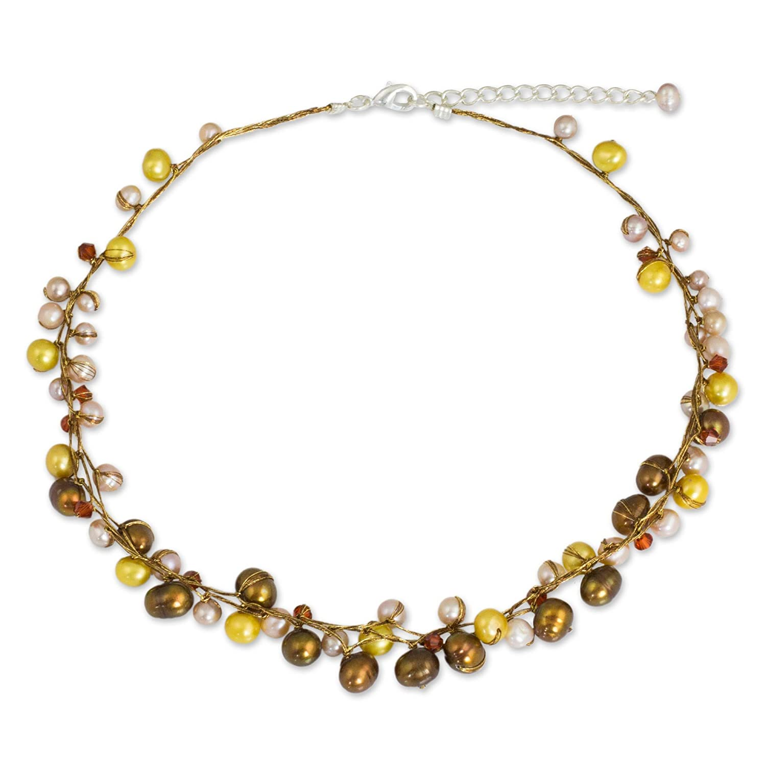 NOVICA Dyed Cultured Freshwater Pearl Strand Necklace with Stainless Steel Extender River of Gold River of Gold/' US/_JWE/_B002PC8WHE