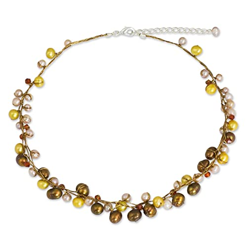 NOVICA Dyed Cultured Freshwater Pearl Strand Necklace with Stainless Steel Extender, River of Gold