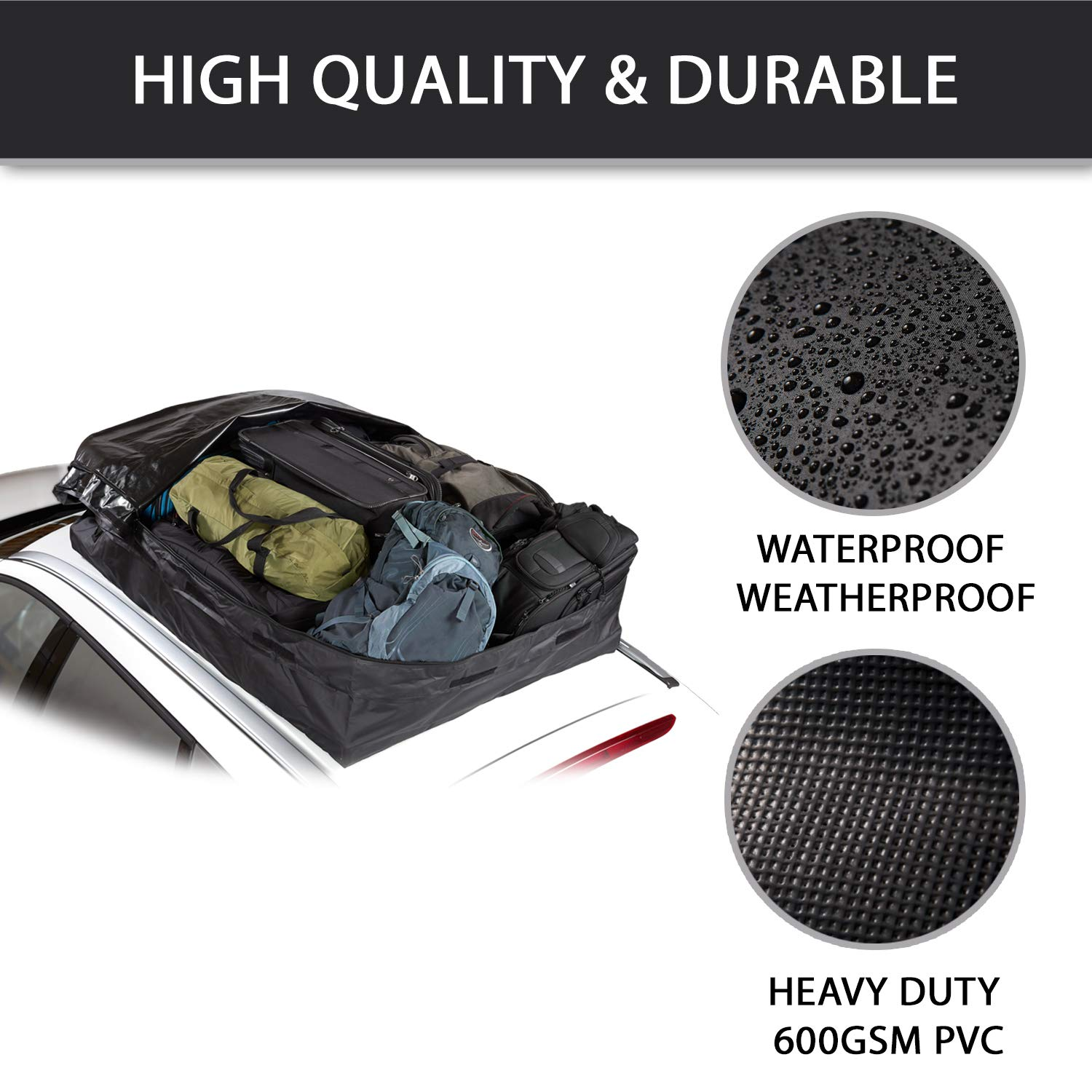 Lock Included 4350438923 20CFT - Use with or Without Racks Waterproof Fedmax Car Rooftop Carrier Roof Top Luggage Bag