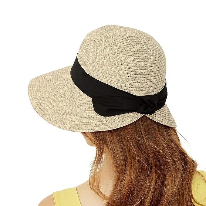 5beef9c45 Masubo Woman Summer Beach Hat Straw Panama Sun Hats for Women Outdoor Cap