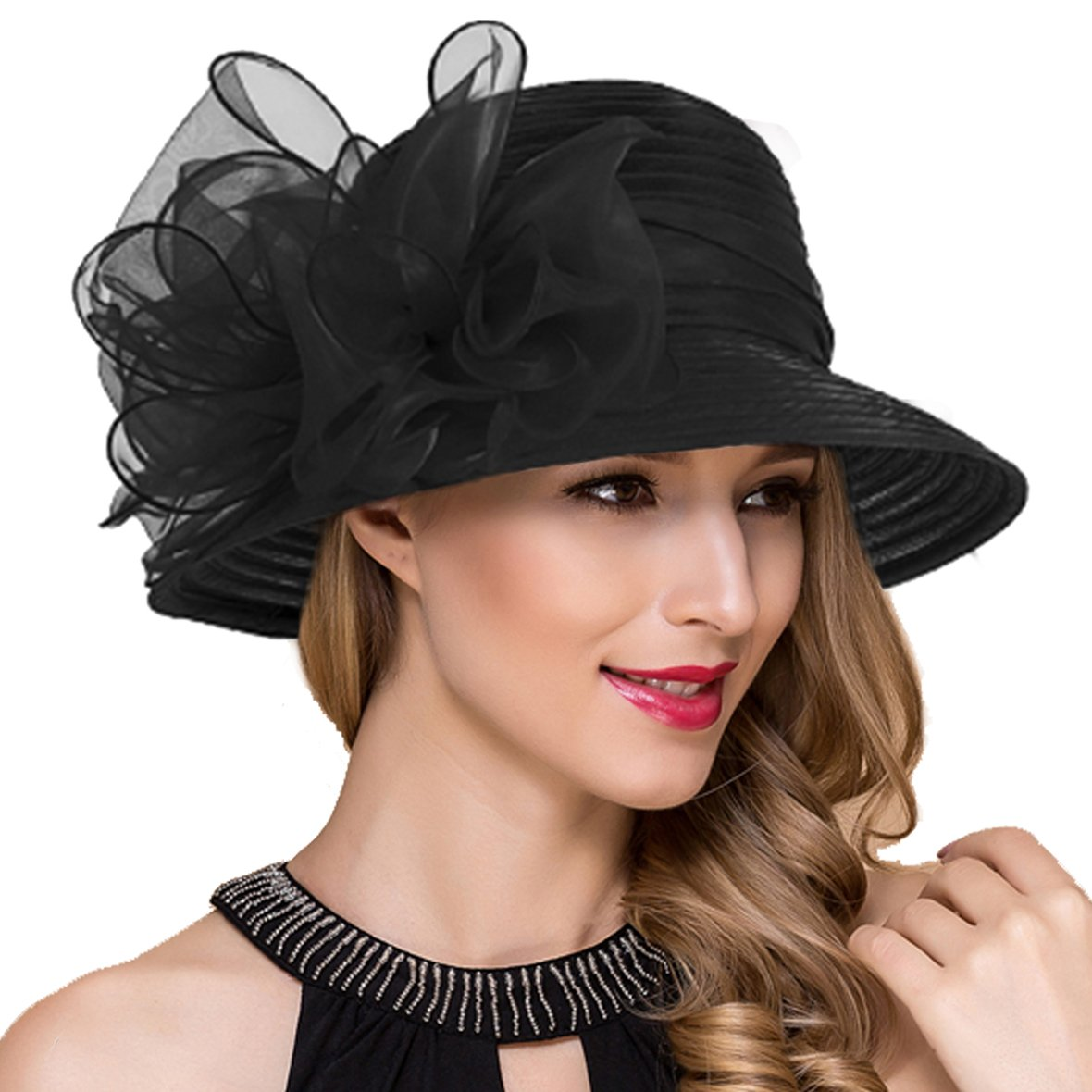 Lady Church Derby Dress Cloche Hat Fascinator Floral Tea Party Wedding Bucket Hat S051 (Black) by Ruphedy