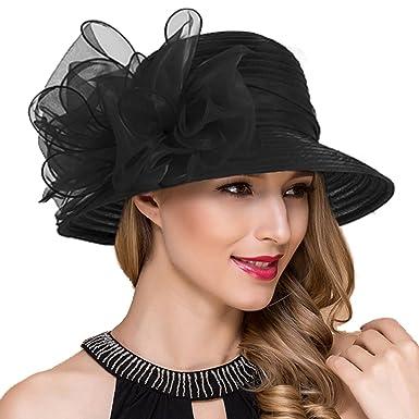 Womens Derby Church Dress Cloche Hats Royal Ascot Party British Wedding  Bucket Hat S051 (Black f83f0015ffa