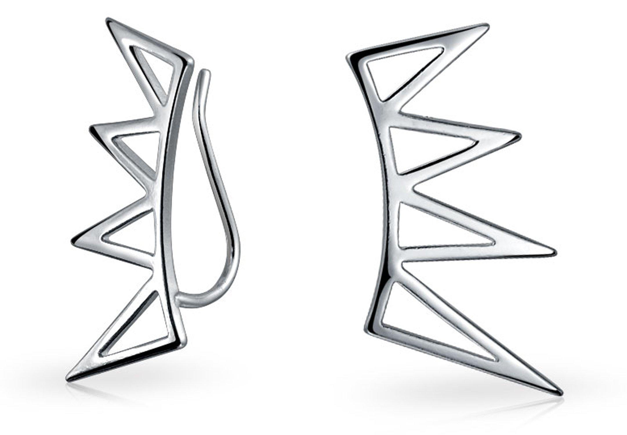 Minimalist Geometric Spike Triangles Ear Pin Warp Climbers Earrings For Women For Teen Crawlers 925 Sterling Silver