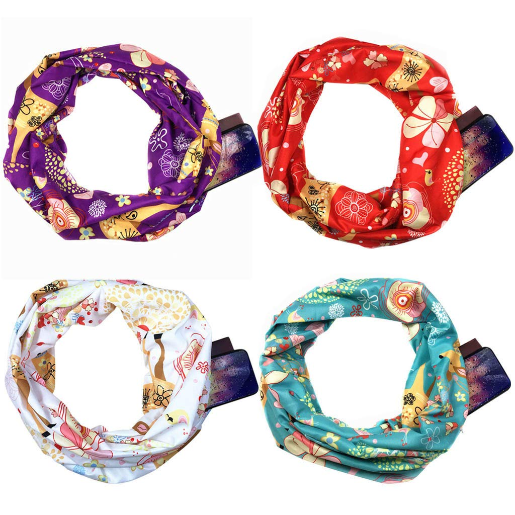 Women Christmas Print Convertible Infinity Scarf Loop Zipper Pocket Scarves