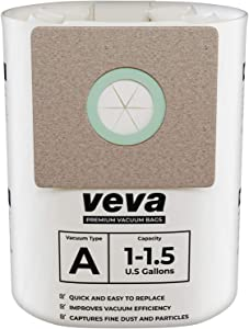VEVA 30 Pack Premium Vacuum Filter Bags Type A 9066700 Work with Shop Vac 1.5 Gallon Vacuum and 1 Gallon Micro Vacs, Part # SV ShopVac Shop-vac 90667