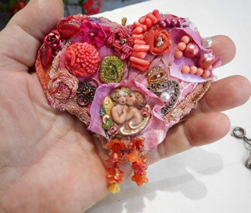 Crazy in love beaded heart pin brooch