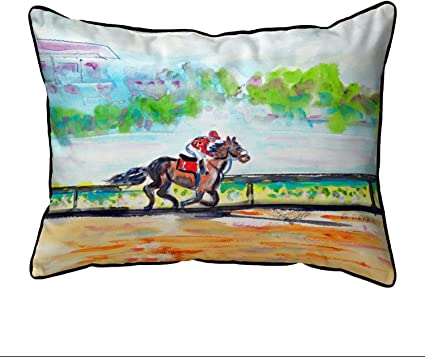 Amazon Com Betsy Drake Inside Track Horse Race Extra Large 20 X 24 Indoor Outdoor Pillow Garden Outdoor