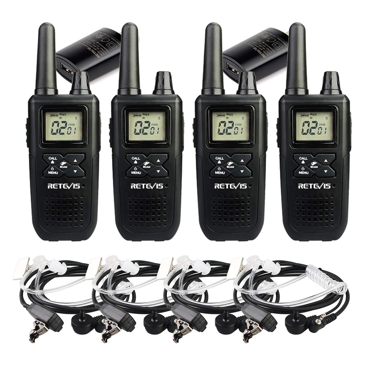Retevis RT41 NOAA Walkie Talkies with Earpiece VOX 22 Channels 121 Privacy Codes 10 Call Alert LCD Display UHF FRS Rechargeable 2 Way Radio Cruise Ship Walkie Talkie for Adults Kids (4 Pack)