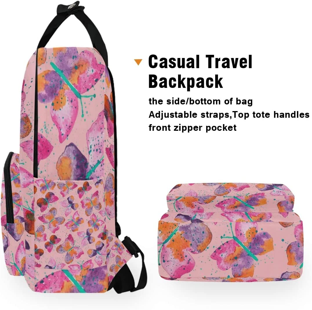UNISE Watercolor Abstract Colorful Butterfly Portable Backpack Laptop Book Bag Casual Rucksack Daypack Handbag Dual-Use for School Travel