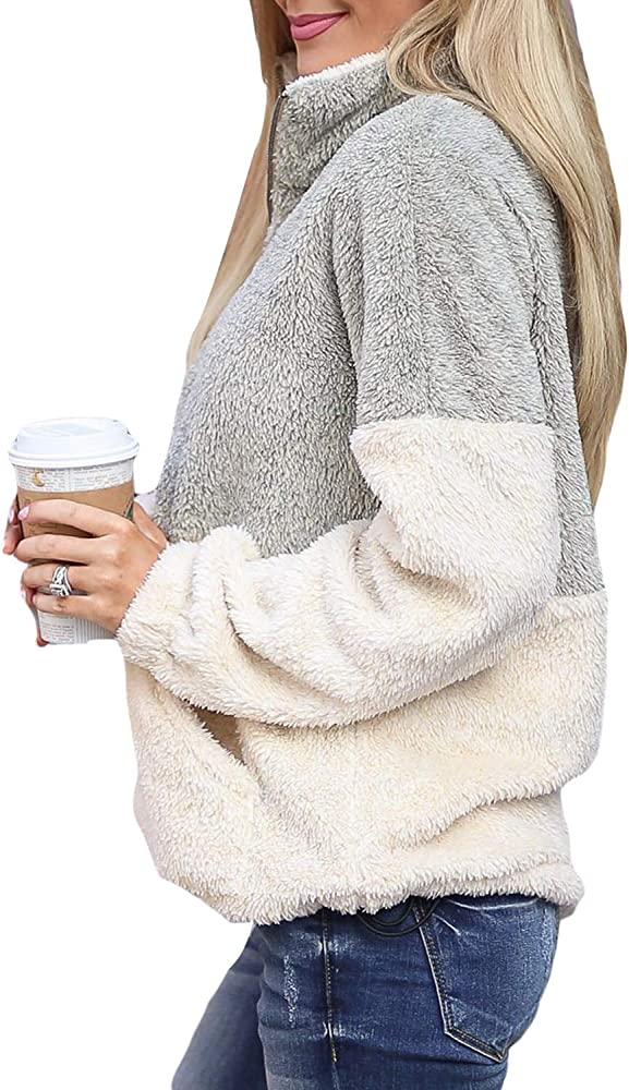 NEW Ladies 2 Tone Zip Long Sleeve Winter Women/'s Baggy Oversized  Top 14-22