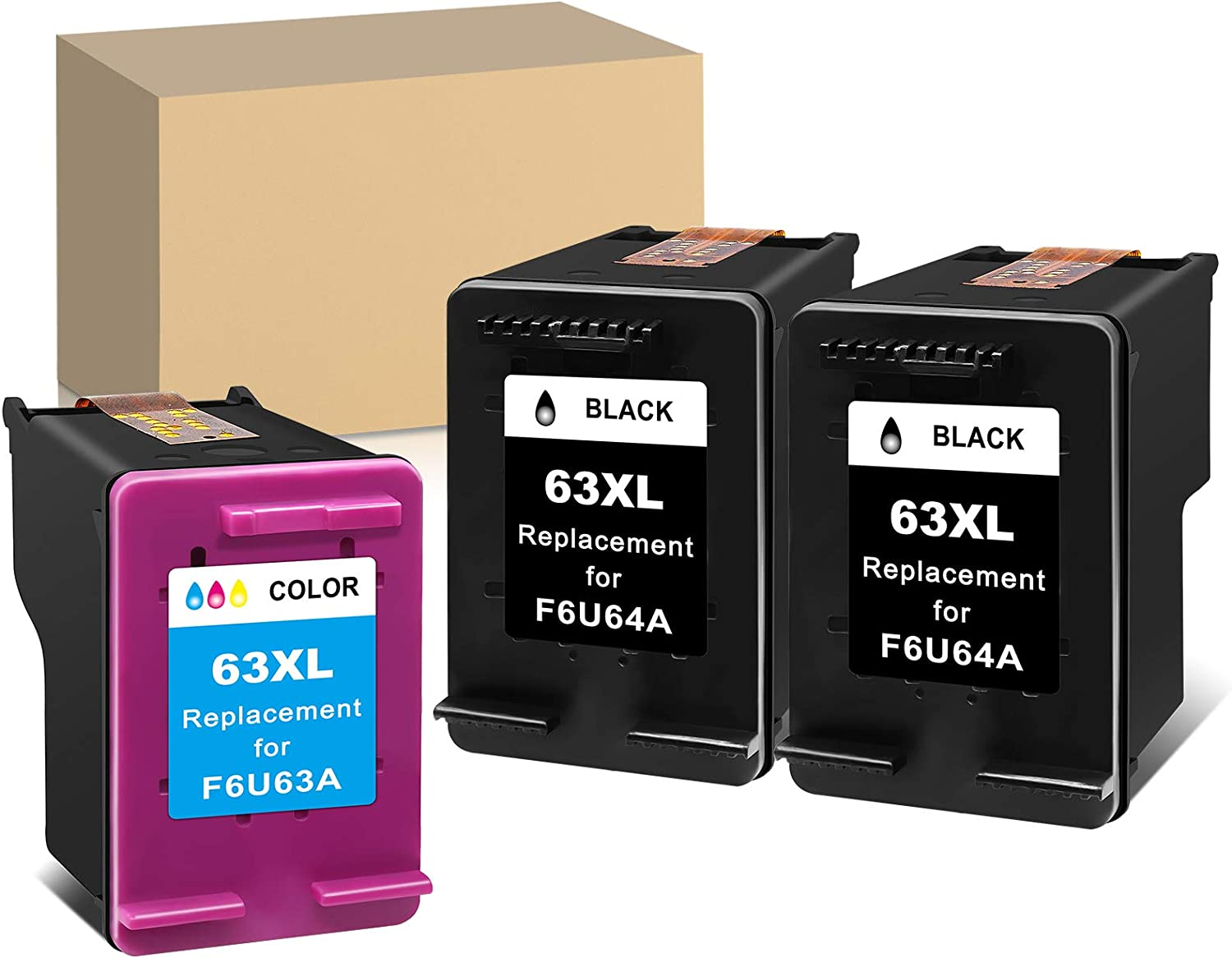 MaxPage Remanufactured Ink Cartridge Replacement for HP 63XL 63 XL Black Tri-Color to Use with Envy 4520 3634 OfficeJet 3830 5252 4650 5258 4655 4652 5255 DeskJet 3636 1111 3630 1112 3637 3632, 3-Pack