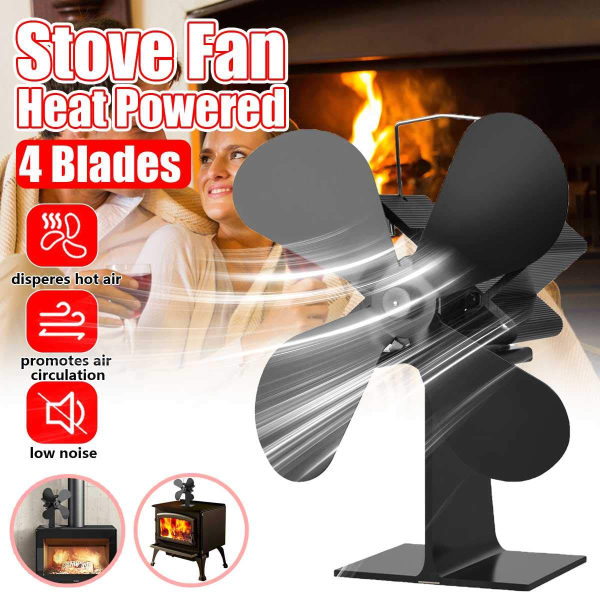 Best Design 4 Blades Heat Powered Stove Fan Log Wood Burner Quiet Black Home, Home Power Stove - Wood Stove Fan, Woodburning Stove Fan, Heat Powered Stove Top Fan, Log Burner Stove, Heat Powered Fans by NUMBER NICE Dream
