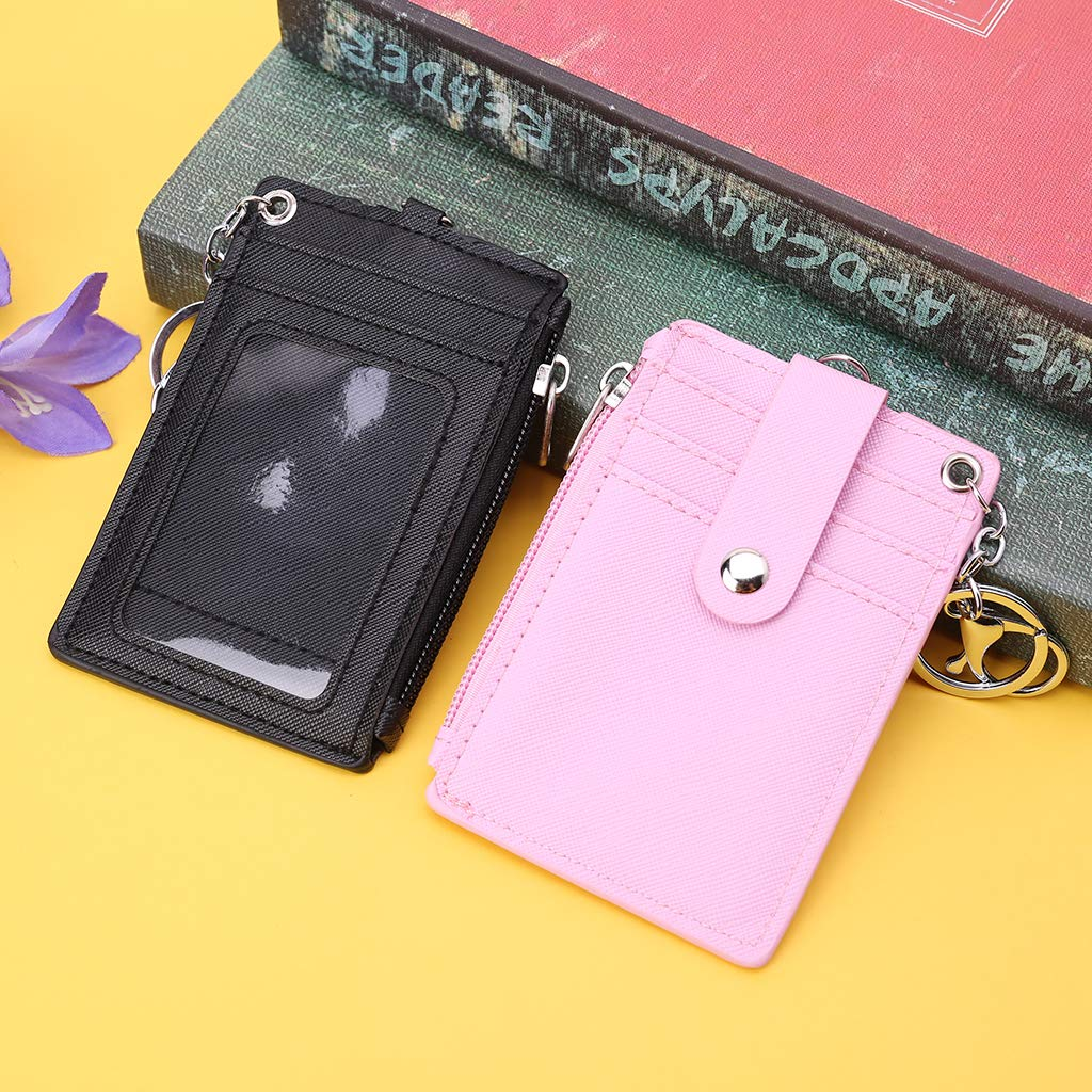 Rhfemd Portable Pure Color Leather Business ID Card Credit Badge Holder Coin Purse Wallet Keychain
