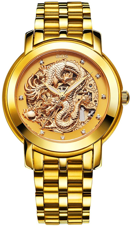 BOS Herrenr 'Dragon Collection' Luxury Geschnitzte Vorwahlknopf automatische mechanische Armband Wasserdicht Golduhr