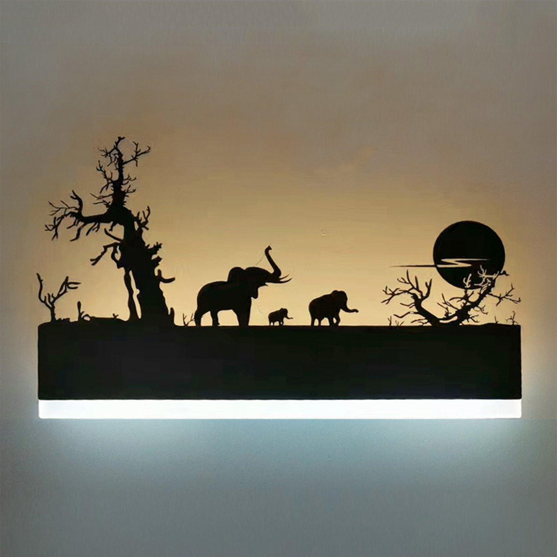 Augrous Wandleuchten 12W LED Acryl Oben und Nieder Innen Wandlampe Eisen Elefant Design zum Schlafzimmer Treppe Flur Dekoration