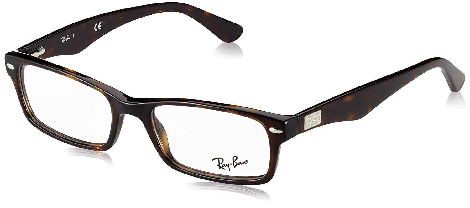 024e5d9ac4028 Amazon.com  Ray-Ban Men s 0rx5206 No Polarization Rectangular Prescription  Eyewear Frame Dark Havana 52 mm  Clothing