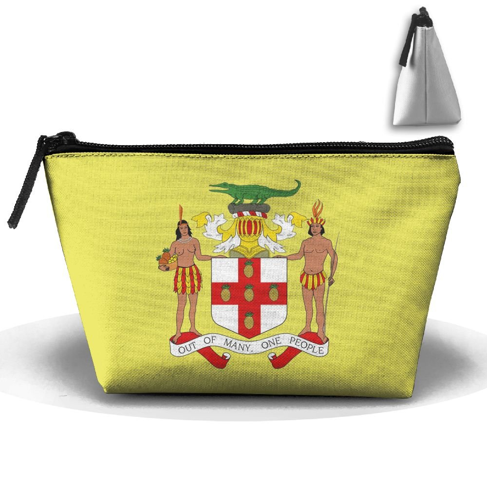SHOUNA Trapezoid Cosmetic Bags Brush Pouch Coat Of Arms Of Jamaica Makeup Bag Zipper Wallet Hangbag