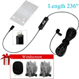 236''/6m BOYA BY-DM1 Lavalier Microphone Lapel Clip-on Mic with IOS Interface Plug Input for iPhone X 8 7 Plus SE 6 6s iPad Pro Mini iPOD TOUCH for Youtube Video Vblog Podcast Micro Film