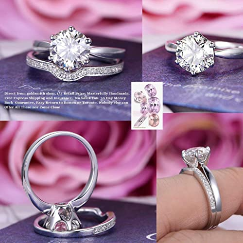 e749458905 Amazon.com: Round FB Moissanite Engagement Ring Set Pave Diamond Wedding  14K White Gold 8mm: Handmade