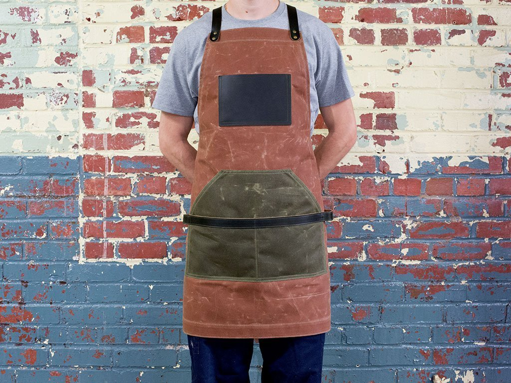 Leather and Canvas Apron, Waxed Canvas Apron, Work Apron, Brown Apron, Cross Strap Apron by OleksynPrannyk